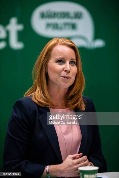 Annie Loof leader of the Centre party campaigns at Stockholm Central Station ahead of the Swedish general election on September 3 2018 in Stockholm...
