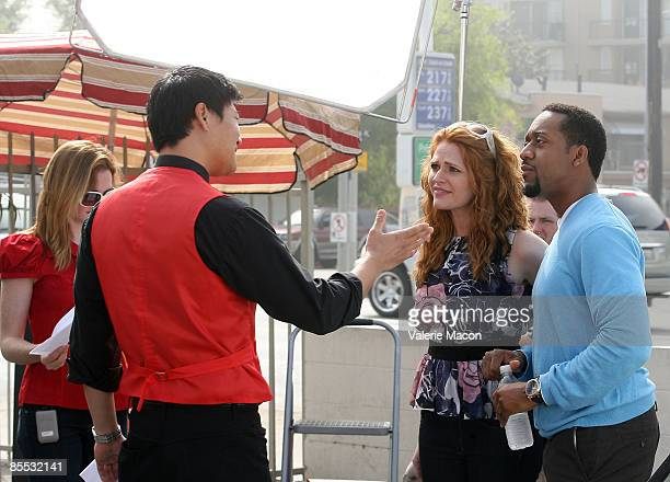 Annie Lukowski director actors Tom Choi Leyna Juliet Weber and Jaleel White on the set of on the MWG Enertainment New Web Series 'Road to the Altar'...