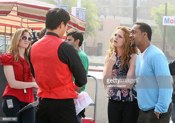 Annie Lukowski director actors Tom Choi Leyna Juliet Weber and Jaleel White on the set of on the MWG Enertainment New Web Series Road to the Altar...