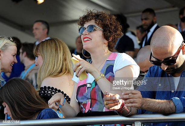 Annie Mac in the VIP area watching Stevie Wonder perform at the Barclaycard Presents British Summer Time Festival in Hyde Park on July 10 2016 in...