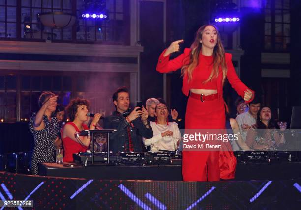 Annie Mac Nick Grimshaw and Este Haim attend the Universal Music BRIT Awards AfterParty 2018 hosted by Soho House and Bacardi at The Ned on February...
