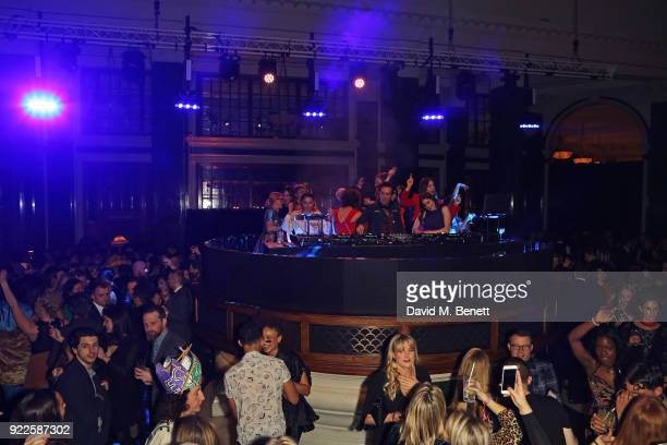 Annie Mac Nick Grimshaw Danielle Haim Alana Haim and Este Haim attend the Universal Music BRIT Awards AfterParty 2018 hosted by Soho House and...