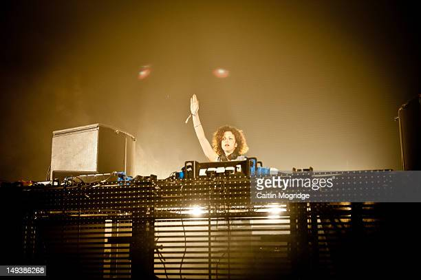Annie Mac performs on stage during Global Gathering at Long Marston Airfield on July 27 2012 in StratforduponAvon United Kingdom