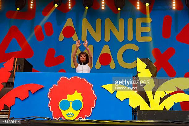 Annie Mac performs on The Main Stage during day two of Lovebox Festival 2015 at Victoria Park on July 18 2015 in London England