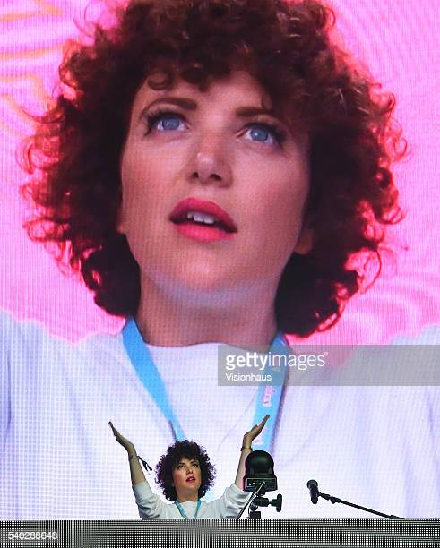 Annie Mac performs on the main stage on day two of the Parklife 2016 Festival on June 12 2016 in Manchester England