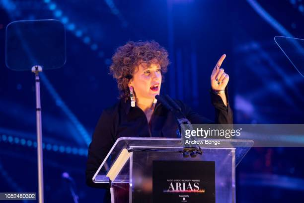 Annie Mac presents an award at the Audio and Radio Industry Awards at First Direct Arena Leeds on October 18 2018 in Leeds England