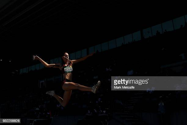 Annie McGuire of QLD competes in the Women's Under 20 Long Jump during day two of the Australian Junior Athletics Championships at Sydney Olympic...