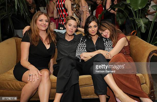 Annie Mumolo President of STX Entertainment Sophie Watts Mila Kunis and Kathryn Hahn attend the after party for the 'Bad Moms' premiere at Metrograph...