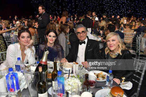 Annie Murphy, Emily Hampshire, Eugene Levy and Catherine O'Hara attend the 25th Annual Critics' Choice Awards at Barker Hangar on January 12, 2020 in...