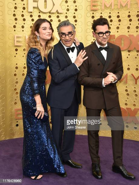 Annie Murphy Eugene Levy and Dan Levy attend the 71st Emmy Awards at Microsoft Theater on September 22 2019 in Los Angeles California