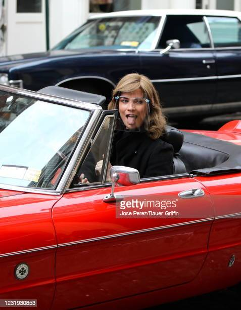 """Annie Murphy is seen on the set of """"Russian Doll"""" on March 25, 2021 in New York City."""