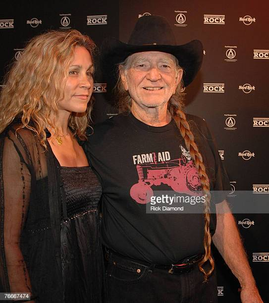 Annie Nelson cofounder of Sustainable Biodiesel Alliance and Musician Willie Nelson arrive on The Green Carprt forThe Launch of the Sustainable...