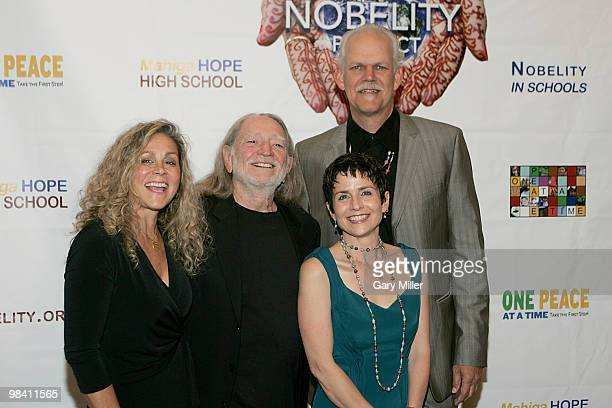 Annie Nelson musician Willie Nelson Christy Pipkin and social activist/author/filmmaker Turk Pipkin arrive on the red carpet for the Nobelity...
