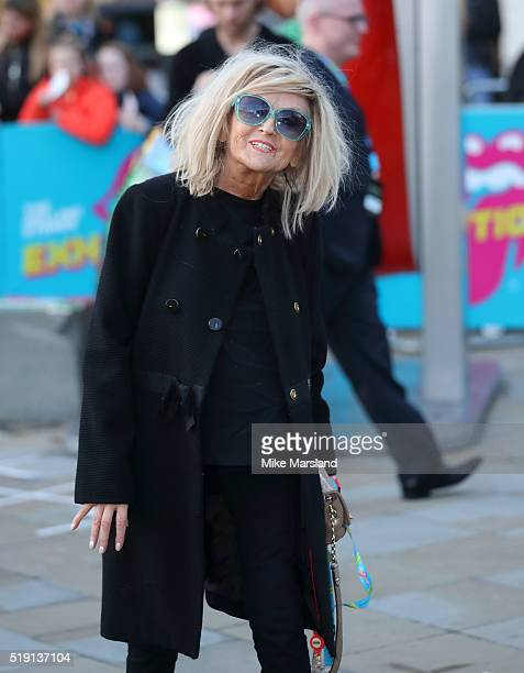 Annie Nightingale arrives for the private view of 'The Rolling Stones Exhibitionism' Saatchi Gallery on April 4 2016 in London England