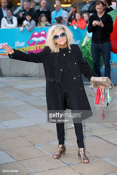 Annie Nightingale arrives for the private view of 'The Rolling Stones Exhibitionism' at the Saatchi Gallery on April 4 2016 in London England