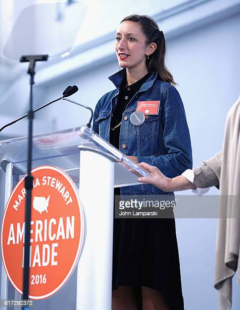 Annie Novak of Eagle Street Rooftop Farm speaks during the Martha Stewart American Made Summit at Martha Stewart Living Omnimedia Headquarters on...