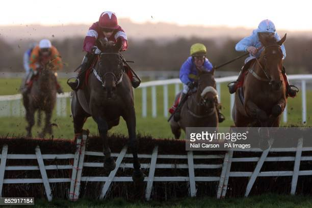 Annie Oakley approaches the final fence before going on to win The Follow Us On Facebook Twitter Handicap Hurdle at Punchestown Racecourse Co Kildare...