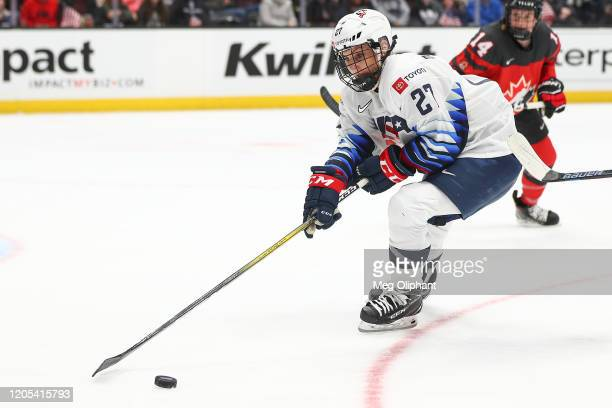 Annie Pankowski of the U.S. Women's Hockey Team handles the puck in the game against the Canadian Women's National Team at Honda Center on February...