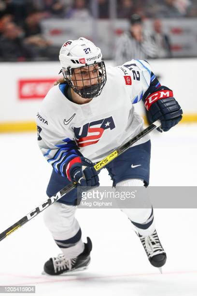 Annie Pankowski of the U.S. Women's Hockey Team in the game against the Canadian Women's National Team at Honda Center on February 08, 2020 in...