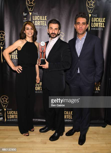 Annie Parisse Award recipient Michael Aronov and Bobby Cannavale pose backstage 32nd Annual Lucille Lortel Awards at NYU Skirball Center on May 7...