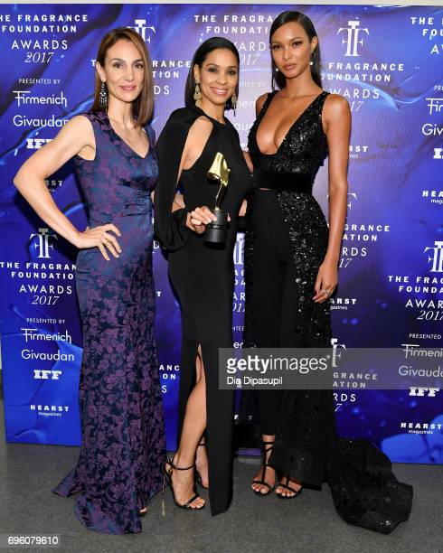 Annie Parisse Sarah Irby and Lais Ribeiro poses backstage at the 2017 Fragrance Foundation Awards Presented By Hearst Magazines at Alice Tully Hall...