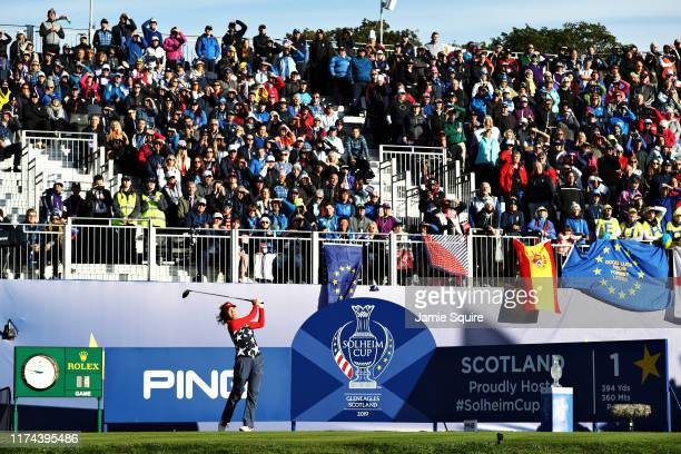 Annie Park of Team USA plays her shot from the first tee during Day 1 of The Solheim Cup at Gleneagles on September 13, 2019 in Auchterarder,...