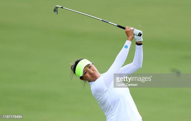 Annie Park of the United States plays her third shot on the par 5 11th hole during the first round of the 2019 KPMG Women's PGA Championship at...