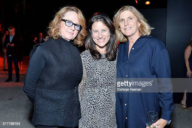 Annie Philbin Katherine Ross and Cynthia Wornham attend LACMA Celebrates Promised Gift of The James Goldstein House on March 23 2016 in Beverly Hills...