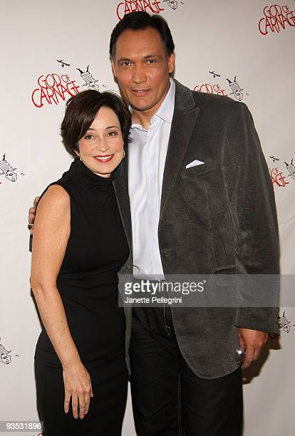 Annie Potts and Jimmy Smits attend a meet and greet with the cast of Broadway's 'God of Carnage' at Etcetera Etcetera on December 1 2009 in New York...
