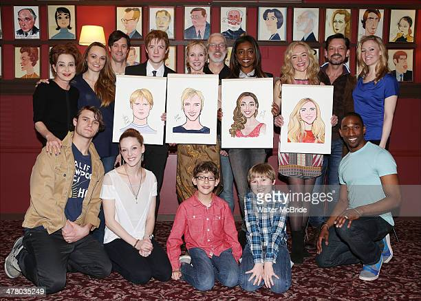 Annie Potts Matthew James Thomas Charlotte d'Amboise Terrence Mann Patina Miller Rachel Bay Jones and the cast attends the Caricature Unveiling for...