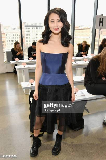 Annie Q attends the Leanne Marshall front row during New York Fashion Week The Shows at Gallery II at Spring Studios on February 14 2018 in New York...
