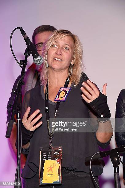 Annie Roney speaks onstage during the Film Independent International Documentary Association Oovra Music And RO*CO FILMS Sundance Party at OP...