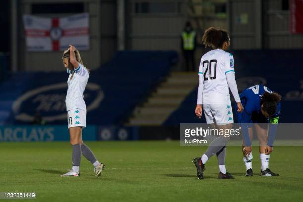 Annie Rossiter looks on during the 2020-21 FA Womens Cup fixture between Chelsea FC and London City at Kingsmeadow on April 16, 2021 in Kingston upon...
