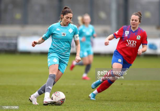 Annie Rossiter of London City Lionesses on the ball during the Barclays FA Women's Championship match between London City Lionesses and Blackburn...