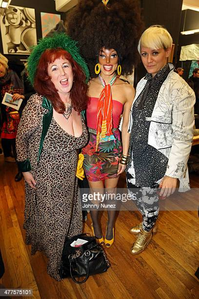 Annie Sprinkle Narcissister and Christine Finley attend the Whitney Houston Biennial Curated By Christine Finley on March 9 2014 in the Brooklyn...