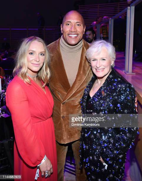 Annie Starke Dwayne Johnson and Glenn Close attend the TIME 100 Gala 2019 Dinner at Jazz at Lincoln Center on April 23 2019 in New York City