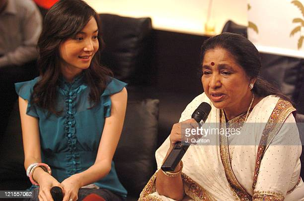 Annie Subsermsri and Asha Bhosle during MTV Asia Aid Artists Press Conference at Metropolitan Hotel in Bangkok Thailand