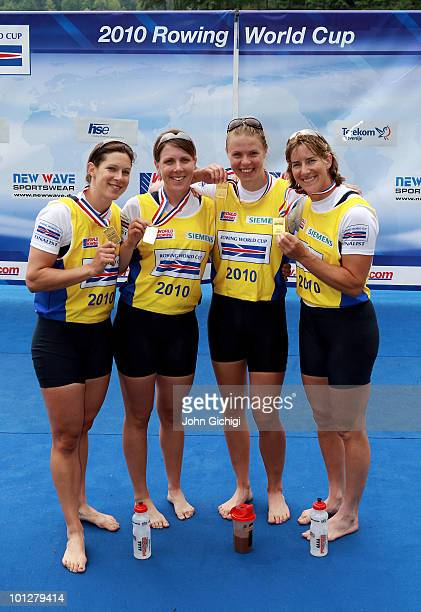 Annie Vernon Beth Rodford Anna Watkins and Katherine Grainger of Great Britain celebrate winning Gold after the Women's Quadruple Sculls during the...