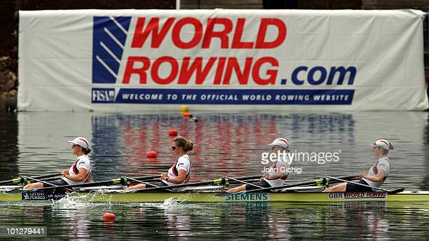 Annie Vernon Beth Rodford Anna Watkins and Katherine Grainger of Great Britain cross the line to win the Women's Quadruple Sculls during the 2010...