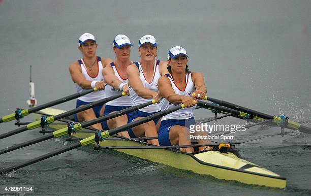 Annie Vernon, Debbie Flood, Frances Houghton and Katherine Grainger of Great Britain in action during the Women's Quadruple Sculls Heat 2 at the...