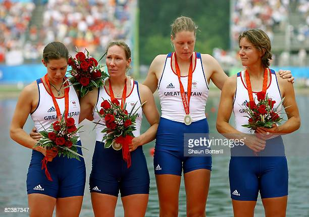 Annie Vernon Debbie Flood Frances Houghton and Katherine Grainger of Great Britain celebrate their silver medal in the Women's Quadruple Sculls at...