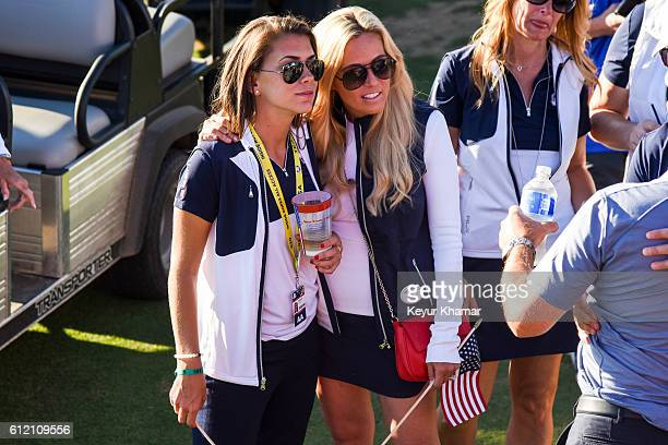 Annie Verret and Amy Mickelson of Team USA celebrate before the Closing Ceremony following singles matches of the 2016 Ryder Cup at Hazeltine...