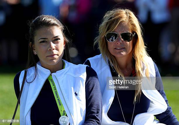 Annie Verret and Tabitha Furyk look on during afternoon fourball matches of the 2016 Ryder Cup at Hazeltine National Golf Club on October 1 2016 in...