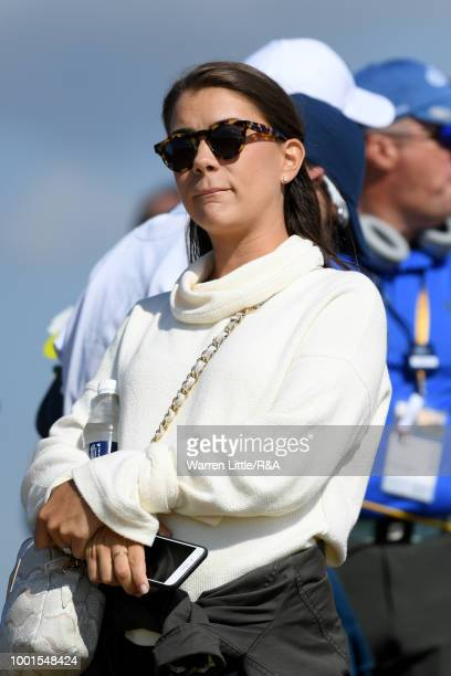 Annie Verret girlfriend of Jordan Spieth of the United States seen during round one of the 147th Open Championship at Carnoustie Golf Club on July 19...