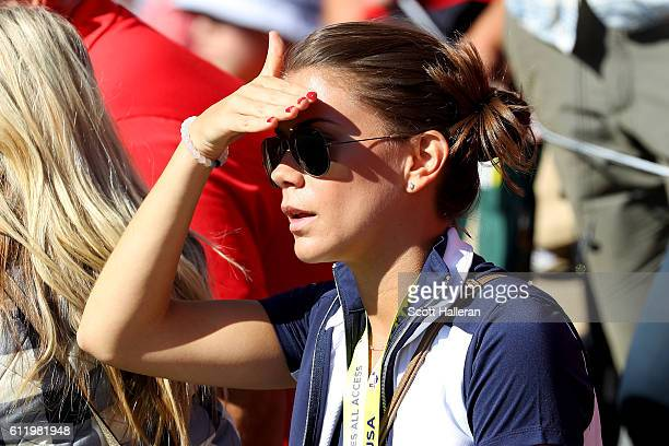 Annie Verret looks on during singles matches of the 2016 Ryder Cup at Hazeltine National Golf Club on October 2 2016 in Chaska Minnesota