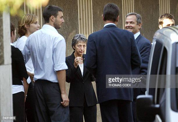 Annie Vieira De Mello , the widow of UN representative in Iraq Sergio Vieira De Mello, arrives with her familly at the Chapelle of The Kings in...