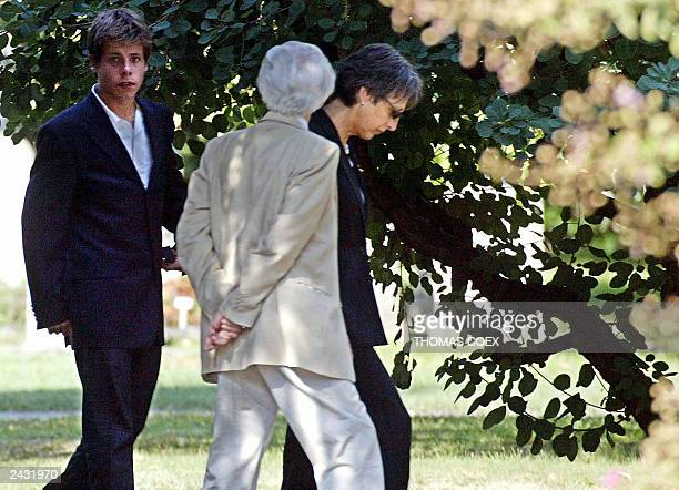 Annie Vieira De Mello , widow of the UN envoy to Iraq, Sergio Viera De Mello, arrives with her familly at the Chappelle Of The Kings in Geneva, 25...