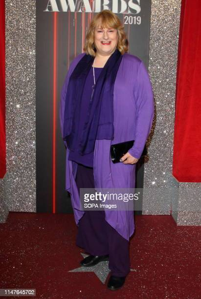 Annie Wallace arrives on the red carpet during The British Soap Awards 2019 at The Lowry, Media City, Salford, in Manchester.