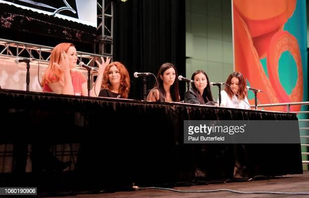 Annie Wersching Brigid Brannagh Brittany Ishibashi Lyrica Okano and Ariela Barer attend the 'Runaways' panel during Los Angeles Comic Con at Los...