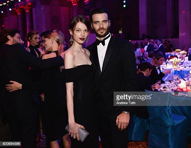 Anniek Abma and actor Giulio Berruti wear Bulgari to the Elton John AIDS Foundation's 15th Annual An Enduring Vison Benefit At Cipriani Wall Street...